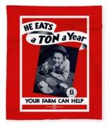 He Eats A Ton A Year Fleece Blanket