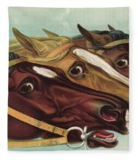 Head And Head At The Winning Post Fleece Blanket