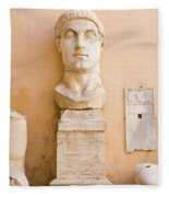 Head From The Statue Of Constantine, Rome, Italy Fleece Blanket
