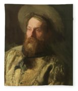 Head Of A Cowboy Fleece Blanket