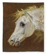 Head Of A Grey Arabian Horse  Fleece Blanket