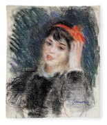 Head Of A Young Woman - 1878 -1880 Pierre-auguste Renoir Fleece Blanket