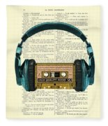 Blue Headphone And Yellow Cassette Collage Print Fleece Blanket