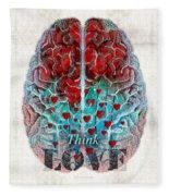 Heart Art - Think Love - By Sharon Cummings Fleece Blanket