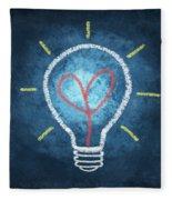 Heart In Light Bulb Fleece Blanket