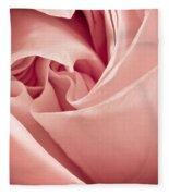 Heart Of A Rose In Pink Fleece Blanket
