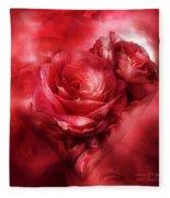 Heart Of A Rose - Red Fleece Blanket