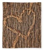 Heart On A Bench Fleece Blanket