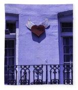Heart On Wall Fleece Blanket