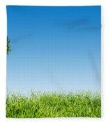 Heart Shape Tree On Green Grass Field Fleece Blanket