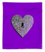 Heart Shaped Lock Purple .png Fleece Blanket
