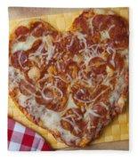 Heart Shaped Pizza Fleece Blanket