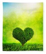Heart Shaped Tree Growing On Green Grass Fleece Blanket