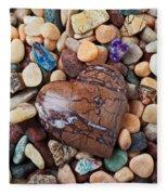 Heart Stone Among River Stones Fleece Blanket