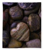 Heart Stone On River Rocks Fleece Blanket