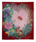 Heart Wreath Fleece Blanket