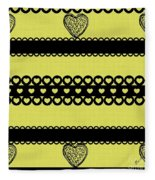 Hearts On Lime Green Fleece Blanket