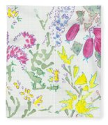 Heather And Gorse Watercolor Illustration Pattern Fleece Blanket