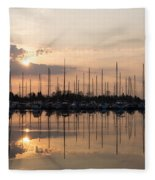 Heavenly Sunrays - Peaches-and-cream Sunrise With Boats Fleece Blanket