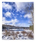 Heavy Snow At The Green Bridge Fleece Blanket