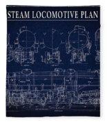 Heavy Steam Locomotive Blueprint Fleece Blanket