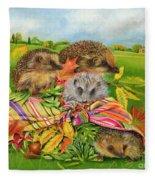 Hedgehogs Inside Scarf Fleece Blanket