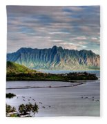 He'eia Fish Pond And Kualoa Fleece Blanket