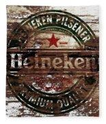 Heineken Beer Wood Sign 1a Fleece Blanket