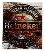 Heineken Beer Wood Sign 1j Fleece Blanket