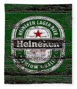 Heineken Beer Wood Sign 2 Fleece Blanket