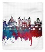 Helsinki Skyline City Blue Fleece Blanket