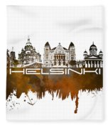 Helsinki Skyline City Brown Fleece Blanket