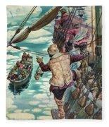 Henry Hudson Being Set Adrift Fleece Blanket