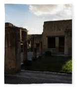 Herculaneum Ruins - Mosaic Tile Streets And Sun Splashes Fleece Blanket
