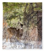 Herd Of Mule Deer In Deep Snow Fleece Blanket