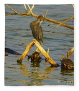 Heron And Turtle Fleece Blanket