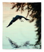 Heron At Dusk Fleece Blanket