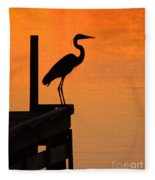 Heron At Sunset Fleece Blanket