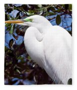 Heron Deep Contemplation Fleece Blanket