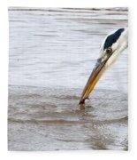 Heron Fishing Fleece Blanket