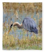 Heron Hunting In Shallows Fleece Blanket