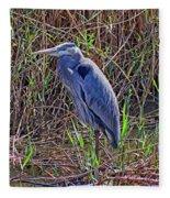 Heron In Marshes Fleece Blanket