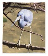 Heron On Branch Fleece Blanket