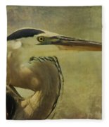 Heron On Texture Fleece Blanket