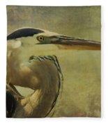 Heron On Texture Fleece Blanket