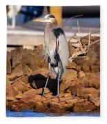 Heron On The Rocks Fleece Blanket