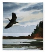 Heron Silhouette Fleece Blanket