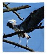 Heron Spreads Wings Fleece Blanket