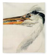 Heron With A Fish Fleece Blanket