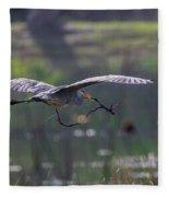 Heron With Nesting Material Fleece Blanket